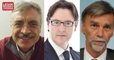 Da sinistra: l'avv. Giuseppe Boscolo del comitato per legge speciale Chioggia, il sindaco Giuseppe Casson ed il ministro Graziano Delrio
