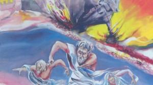 La fuga di Clodia, Antenore e Aquilio da Troia in fiamma in un bellissimo dipinto di Dino Memmo.